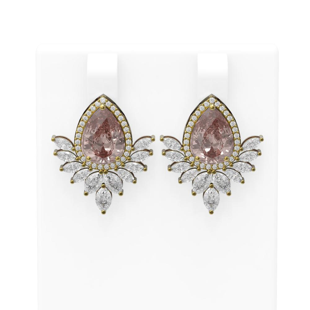 6.43 ctw Morganite & Diamond Earrings 18K Yellow Gold - REF-627F3M