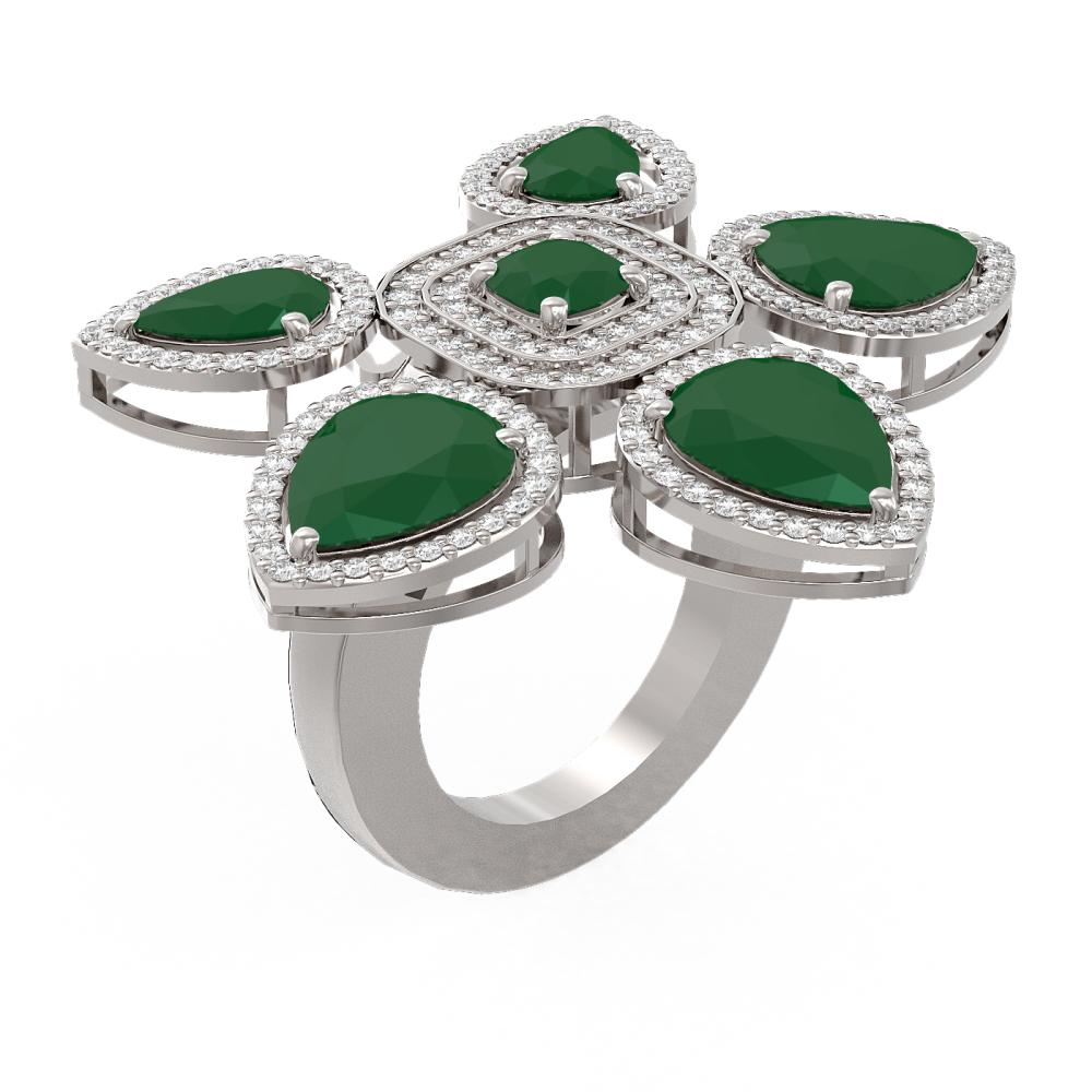15.43 ctw Emerald Diamond Ring 18K White Gold - REF-436M4G