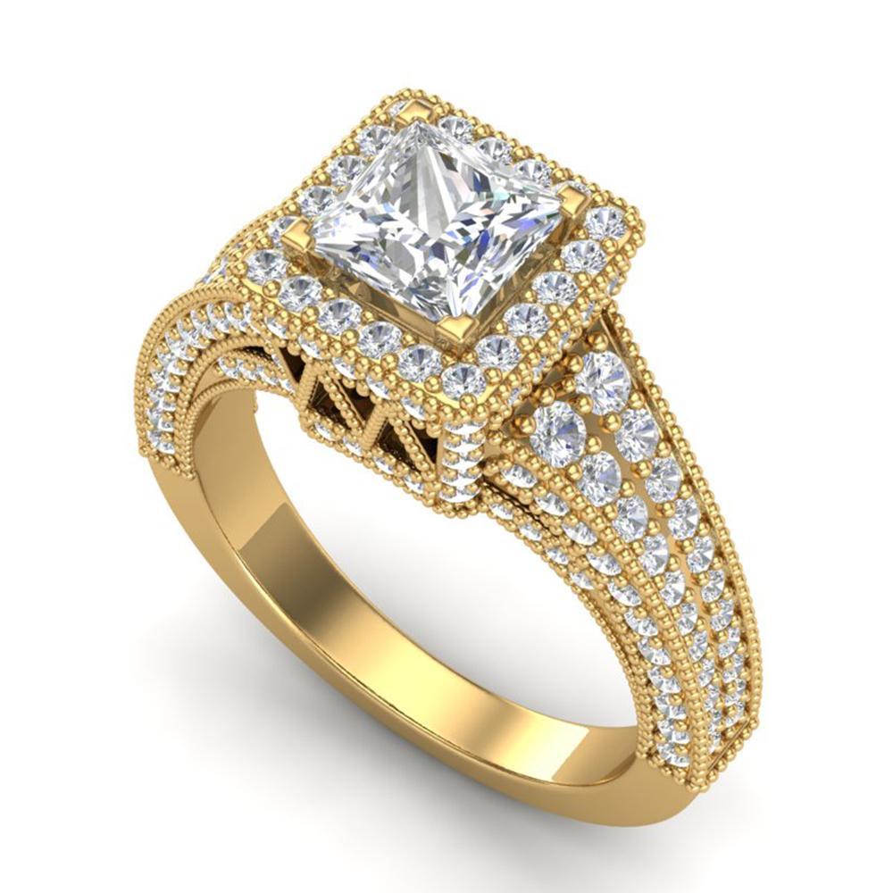 3.5 ctw Princess VS/SI Diamond Micro Pave Ring 18k Yellow Gold - REF-581A8N