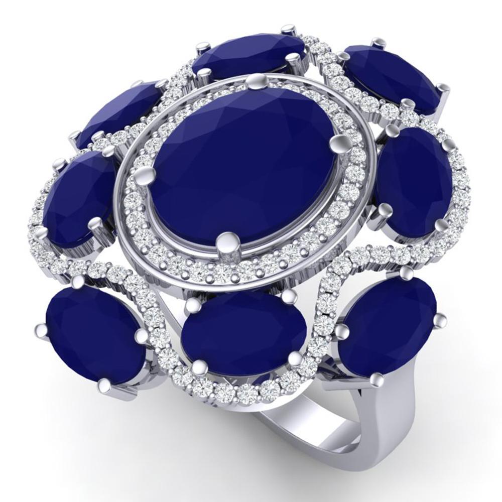 9.86 ctw Designer Sapphire & VS Diamond Ring 18K White Gold - REF-200G2W