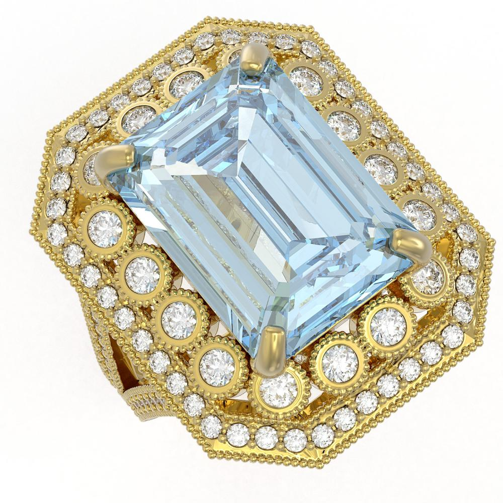 16.92 ctw Certified Sky Topaz & Diamond Victorian Ring 14K Yellow Gold - REF-260N4F