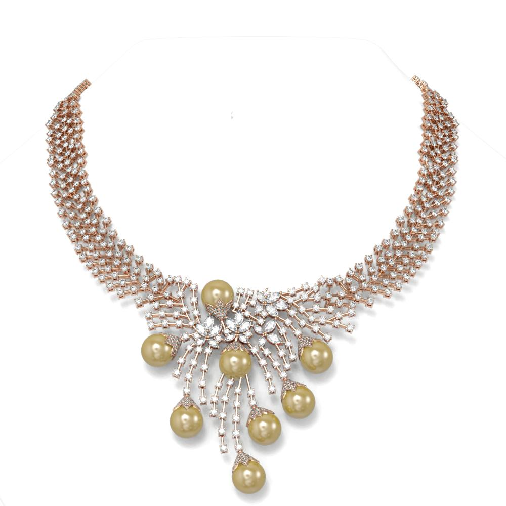 37.85 ctw Diamond & Pearl Necklace 18K Rose Gold - REF-2997N3F