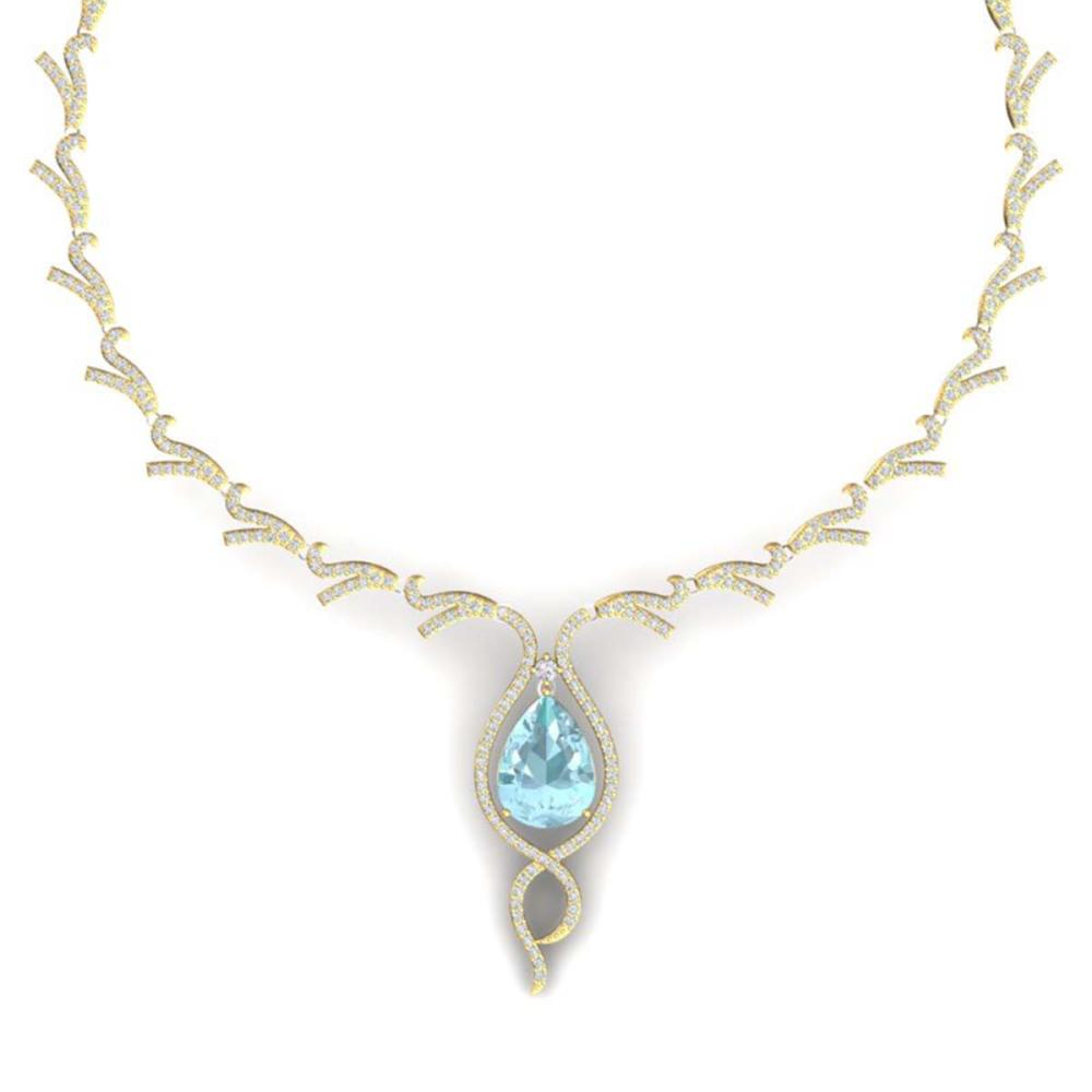 24.32 ctw Sky Topaz & VS Diamond Necklace 18K Yellow Gold - REF-800R2K - SKU:39506