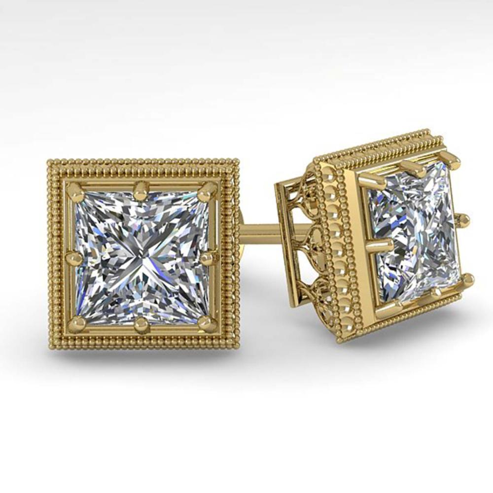 2.0 ctw VS/SI Princess Diamond Stud Earrings 14K Yellow Gold - REF-512X7R - SKU:29785