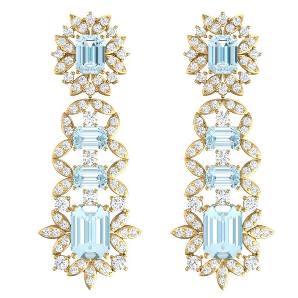 33.36 ctw Sky Topaz & VS Diamond Earrings 18K Yellow Gold - REF-527H3M - SKU:39416