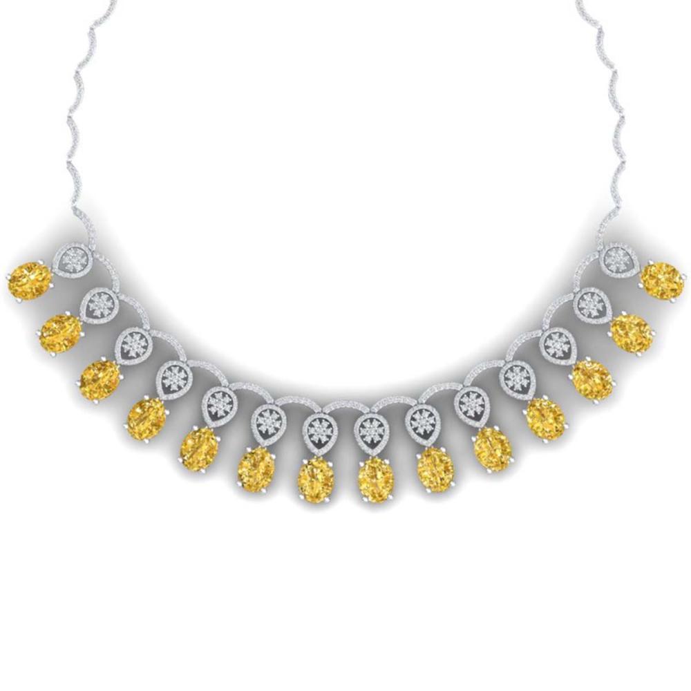 51.57 ctw Canary Citrine & VS Diamond Necklace 18K White Gold - REF-927W3H - SKU:39075