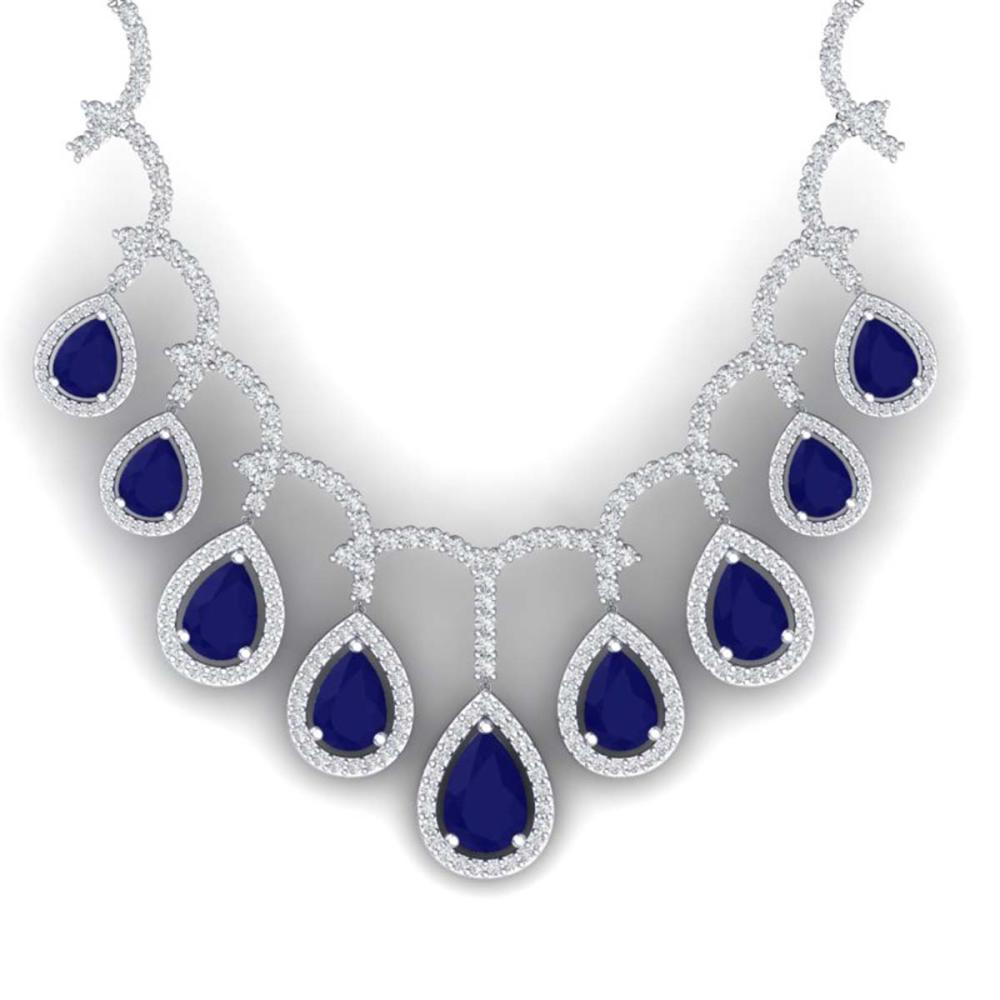 31.5 ctw Sapphire & VS Diamond Necklace 18K White Gold - REF-854A5V - SKU:39351