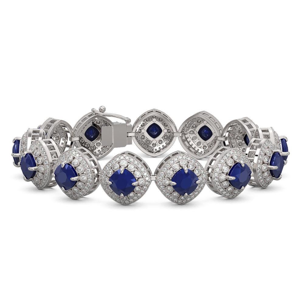 37.35 ctw Sapphire & Diamond Bracelet 14K White Gold - REF-870A9V - SKU:44150