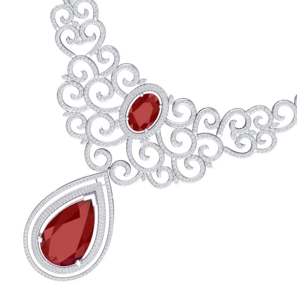 87.52 ctw Ruby & VS Diamond Necklace 18K White Gold - REF-2000X2R - SKU:39839
