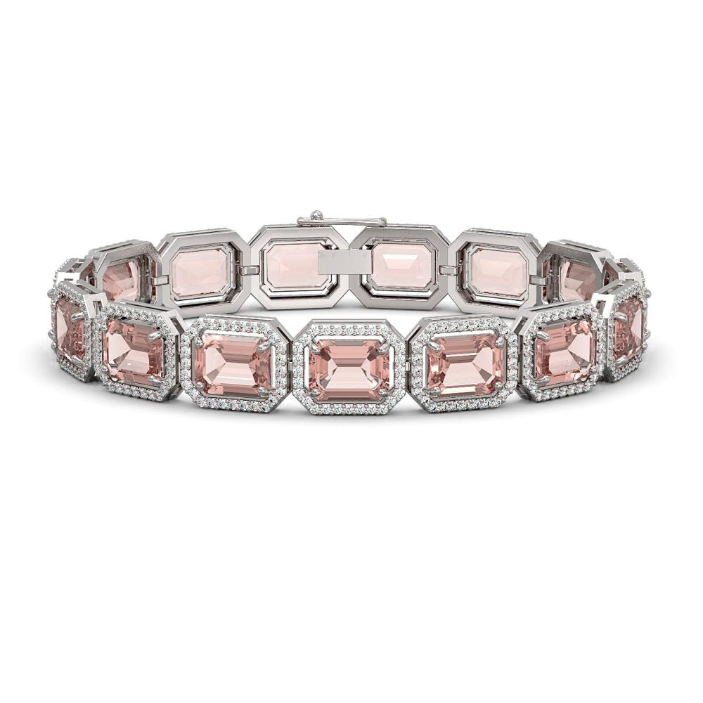 37.11 ctw Morganite & Diamond Halo Bracelet 10K White Gold - REF-787H3M - SKU:41534