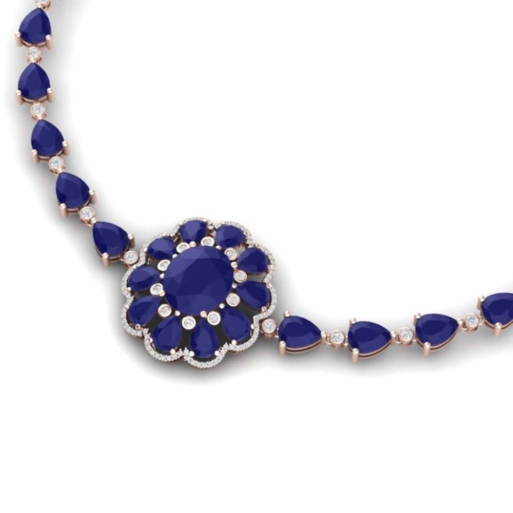 78.98 ctw Sapphire & VS Diamond Necklace 18K Rose Gold - REF-763W6H - SKU:39175