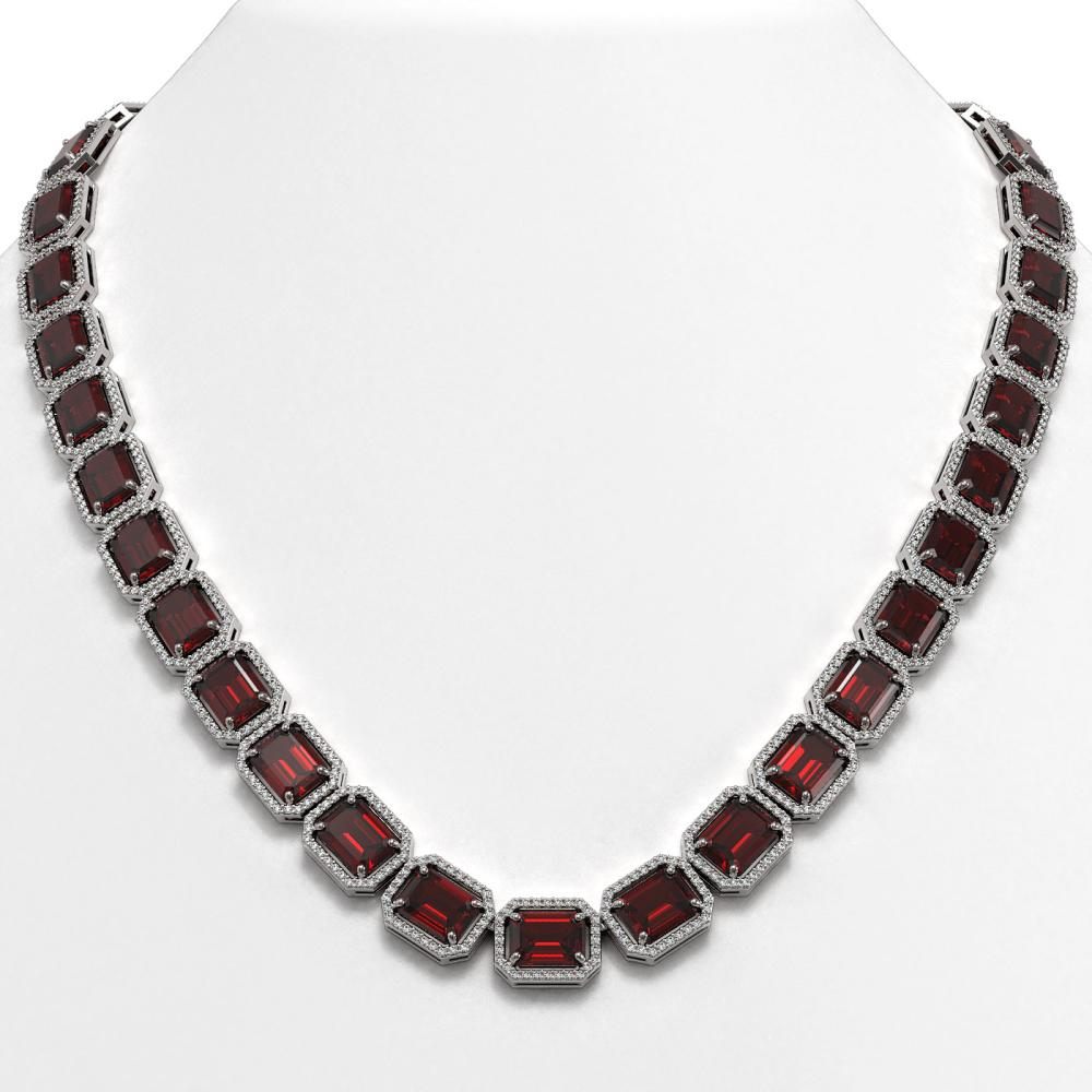 73.44 ctw Garnet & Diamond Halo Necklace 10K White Gold - REF-696W2H - SKU:41519