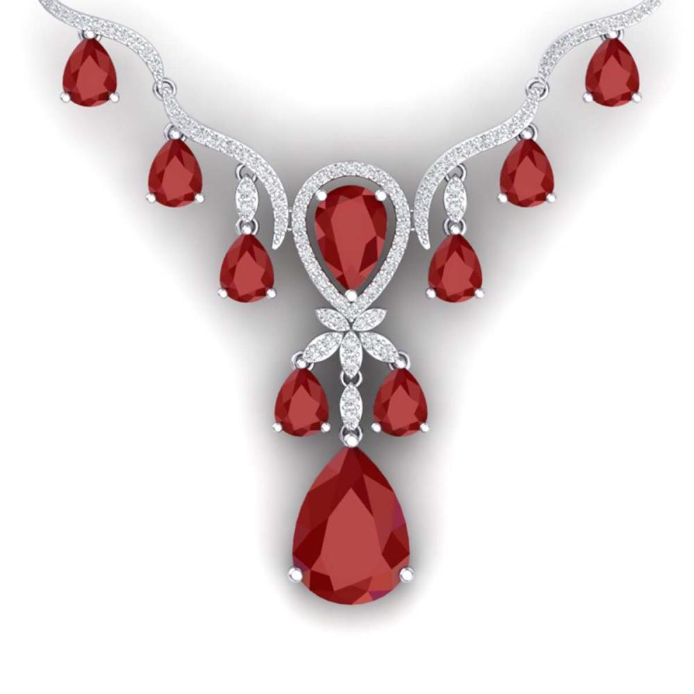 36.14 ctw Ruby & VS Diamond Necklace 18K White Gold - REF-763H6M - SKU:38592
