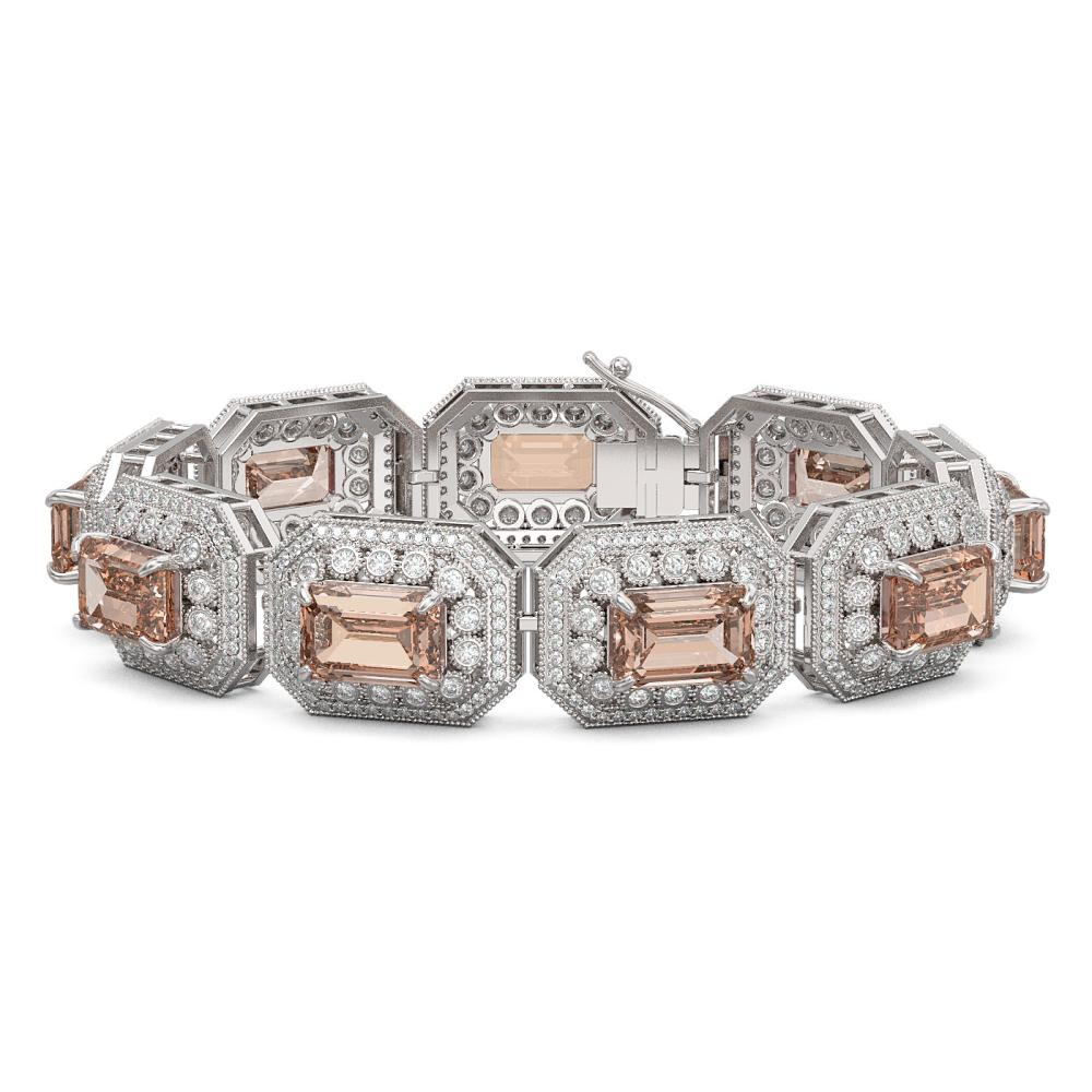 52.65 ctw Morganite & Diamond Bracelet 14K White Gold - REF-1818K4W - SKU:43505