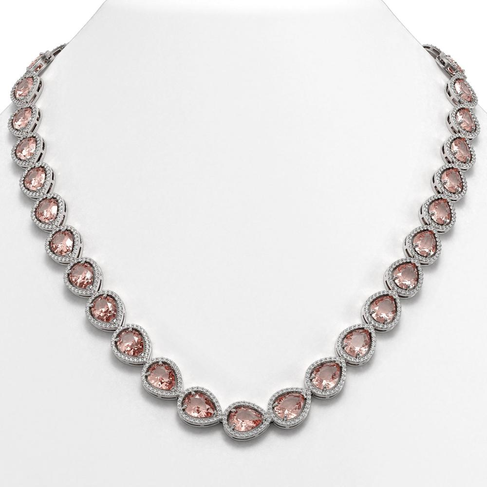 41.6 ctw Morganite & Diamond Halo Necklace 10K White Gold - REF-1024K4W - SKU:41198