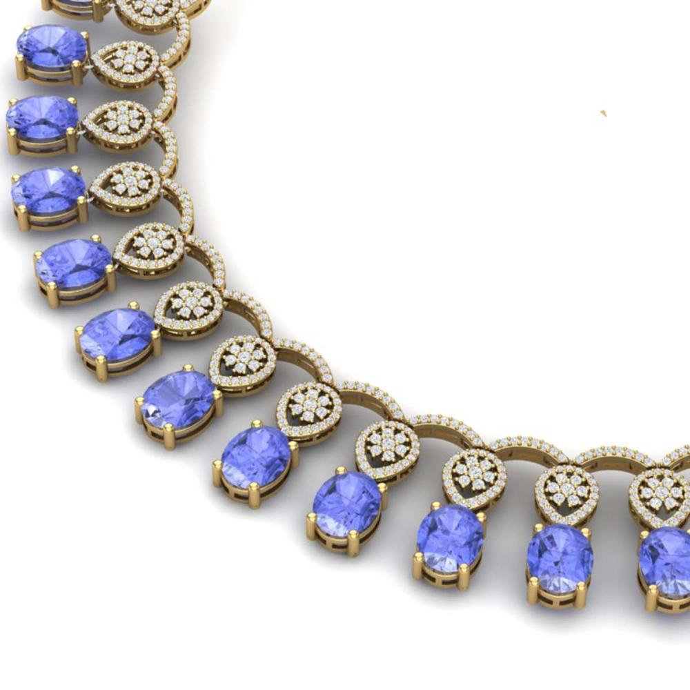 45.56 ctw Tanzanite & VS Diamond Necklace 18K Rose Gold - REF-1400Y2X - SKU:39070