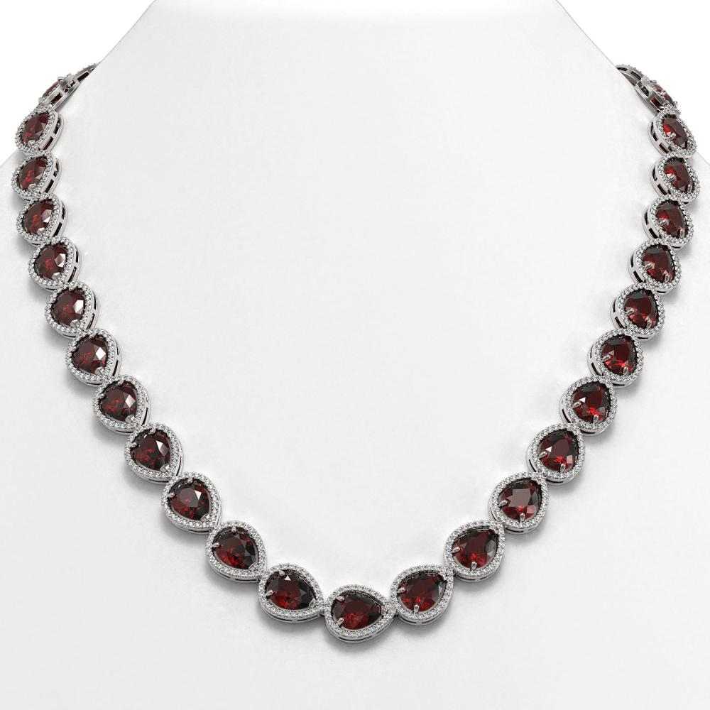 36.8 ctw Garnet & Diamond Halo Necklace 10K White Gold - REF-592F9N - SKU:41231
