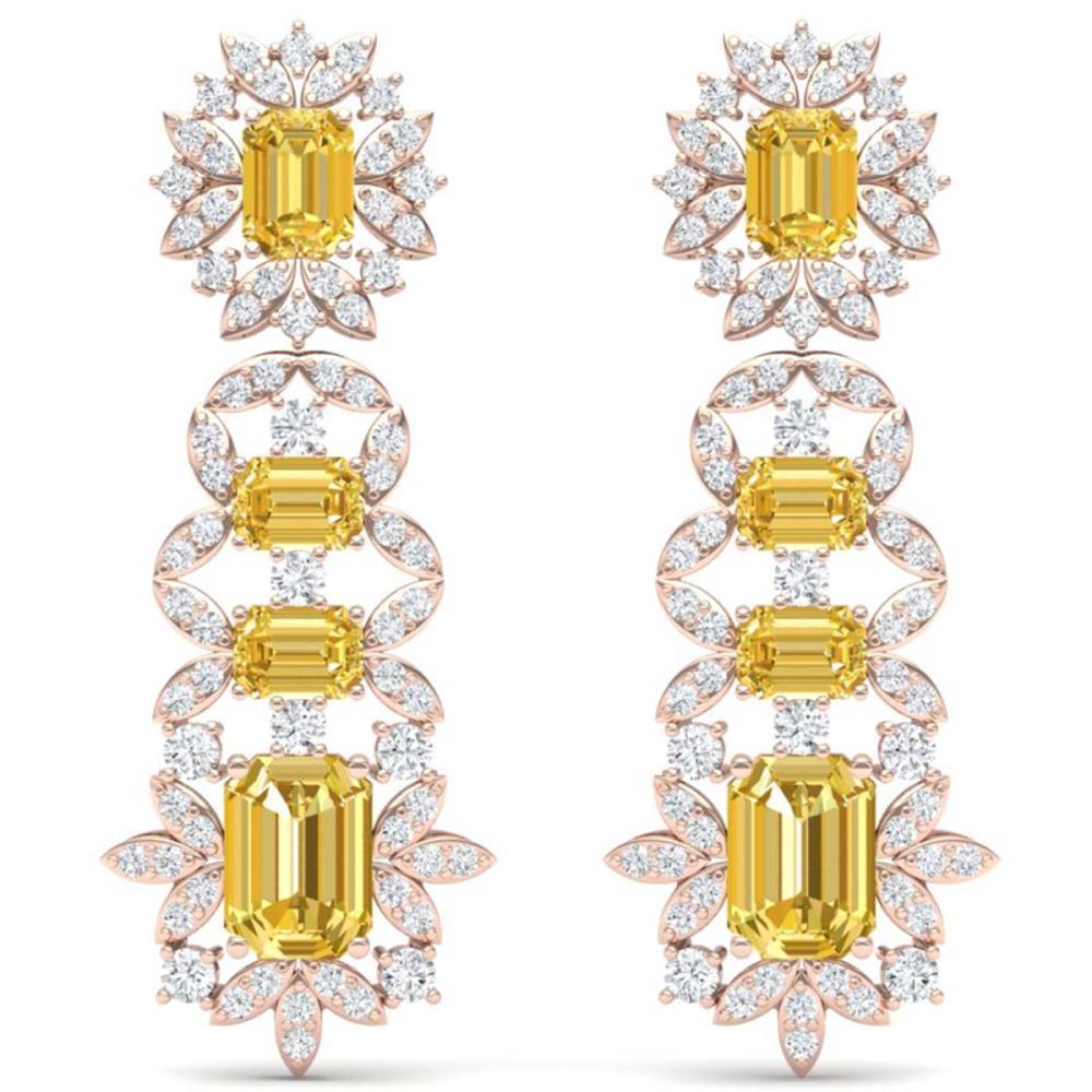 27.75 ctw Canary Citrine & VS Diamond Earrings 18K Rose Gold - REF-518K2W - SKU:39418