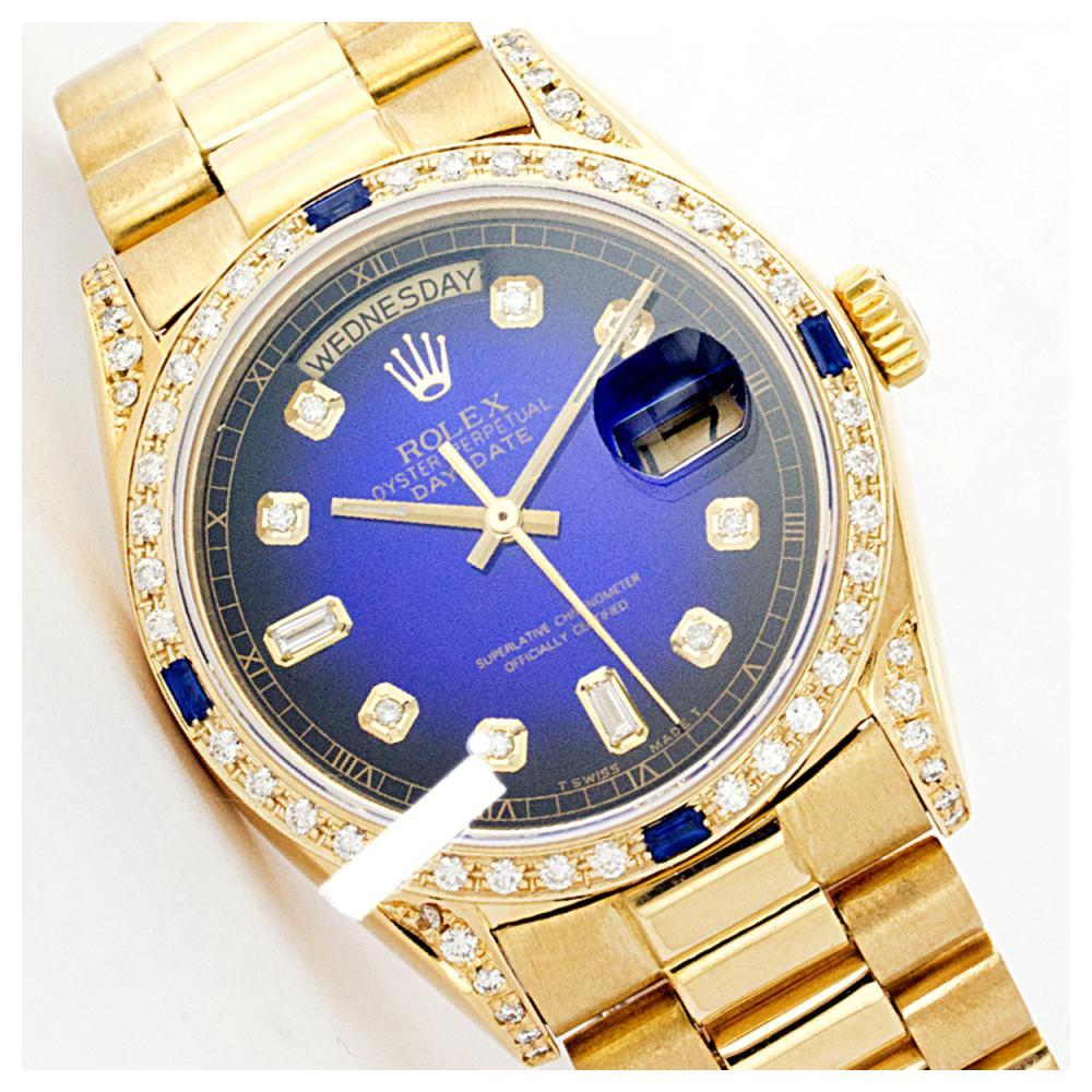 Rolex Men's 18K Yellow President, QuickSet, Diam Dial & Diam/Sapphire Bezel - REF-1457A4N