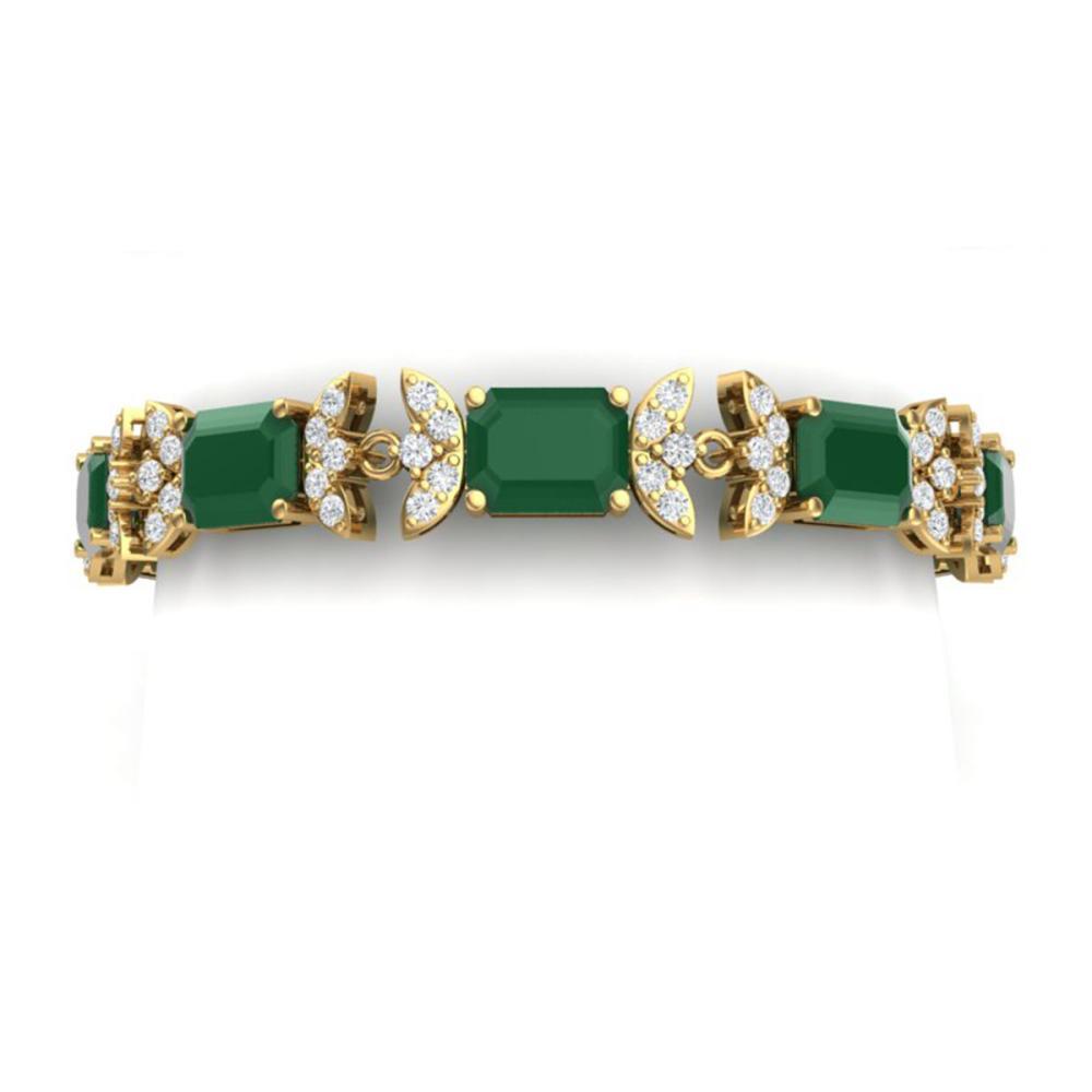 38.13 ctw Emerald & VS Diamond Bracelet 18K Yellow Gold - REF-527V3Y - SKU:39392