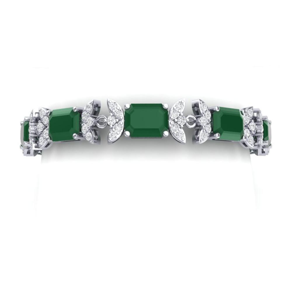 38.13 ctw Emerald & VS Diamond Bracelet 18K White Gold - REF-527K3W - SKU:39390