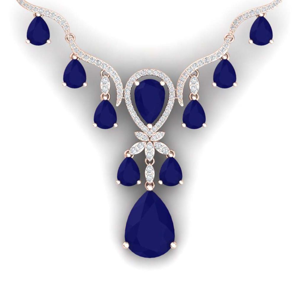 36.14 ctw Sapphire & VS Diamond Necklace 18K Rose Gold - REF-763F6N - SKU:38596