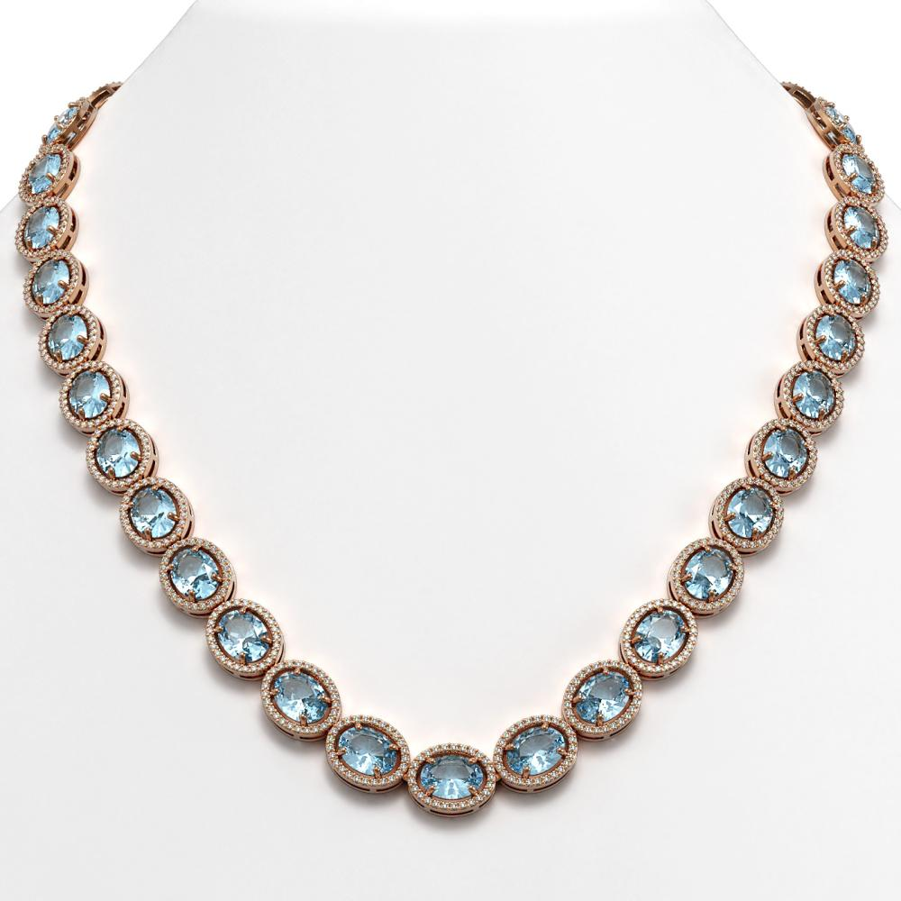 54.11 ctw Aquamarine & Diamond Halo Necklace 10K Rose Gold - REF-805W3H - SKU:40674