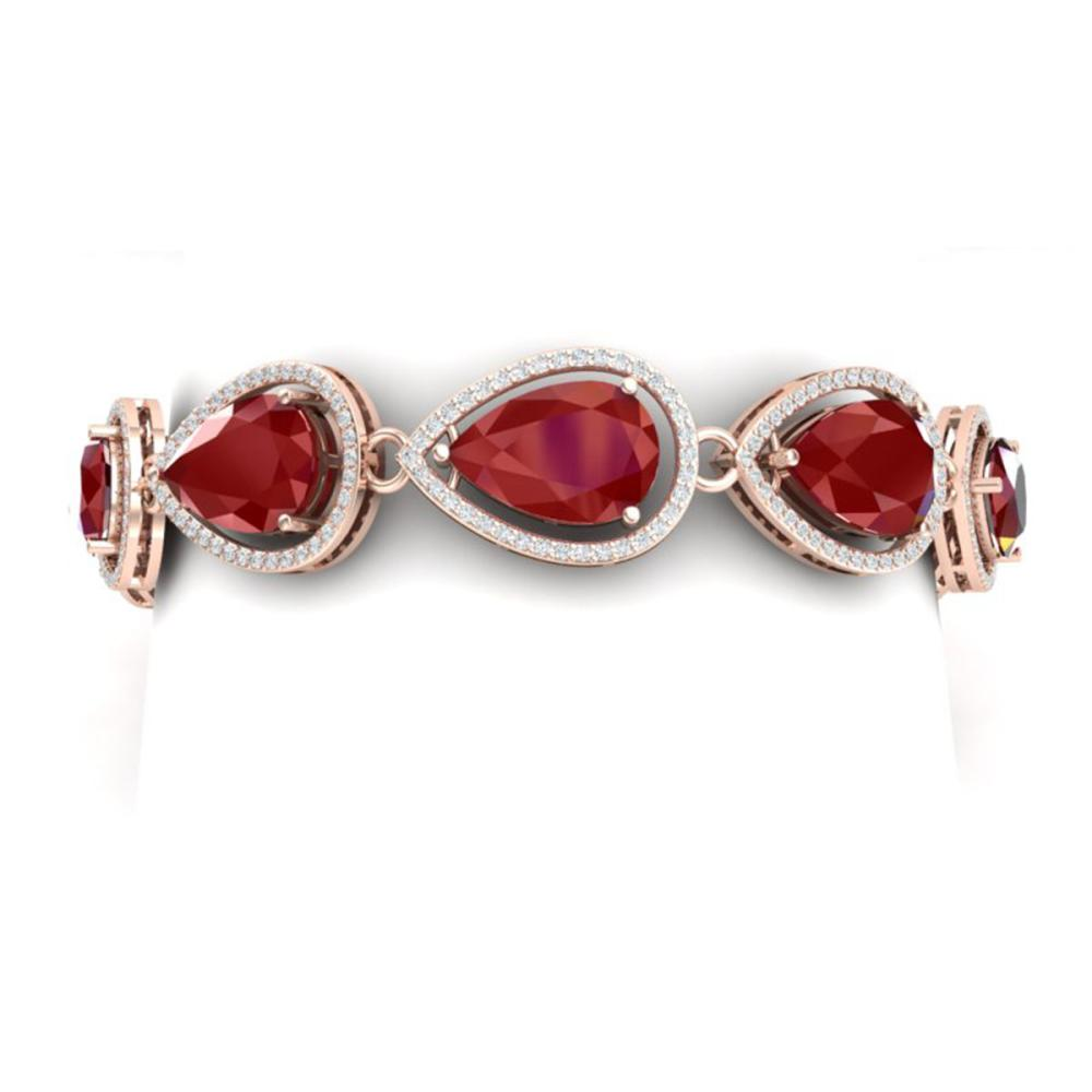28.31 ctw Ruby & VS Diamond Bracelet 18K Rose Gold - REF-527V3Y - SKU:39559