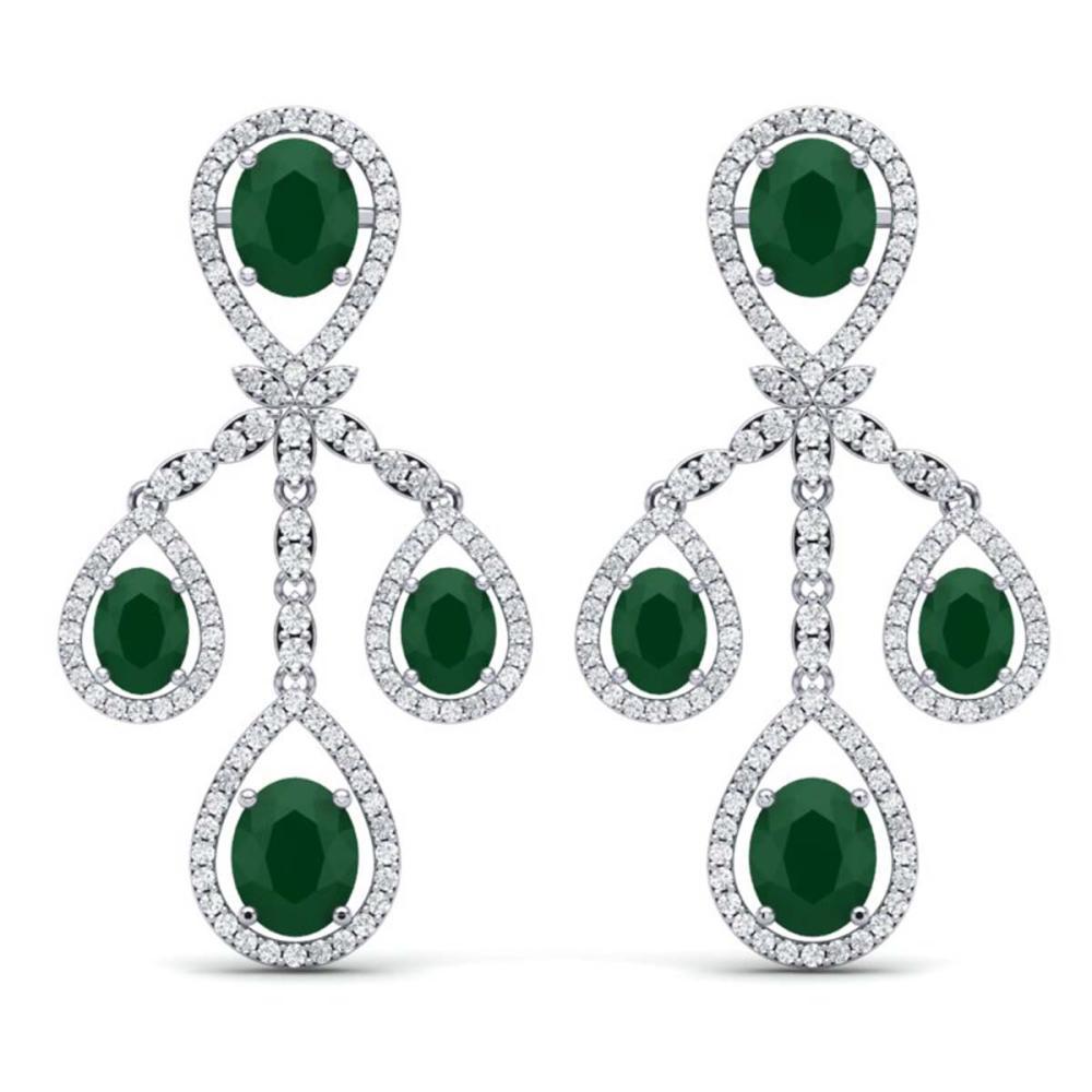 25.08 ctw Emerald & VS Diamond Earrings 18K White Gold - REF-490R9K - SKU:38571