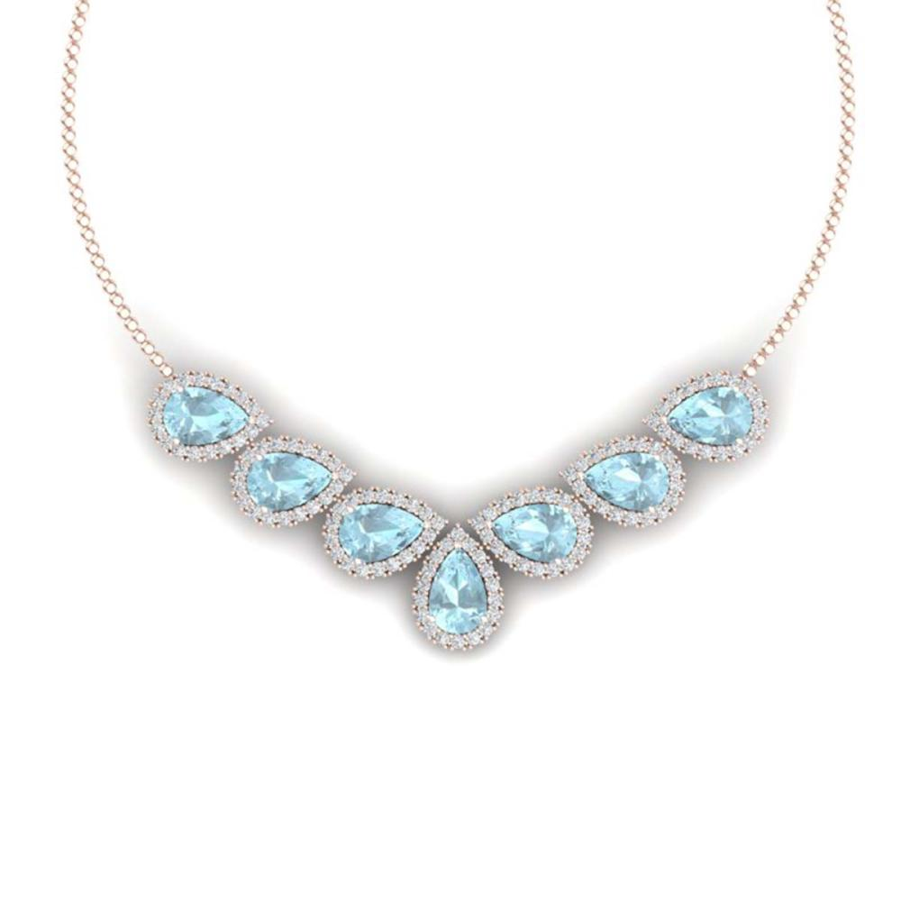 36.24 ctw Sky Topaz & VS Diamond Necklace 18K Rose Gold - REF-527A3V - SKU:38836