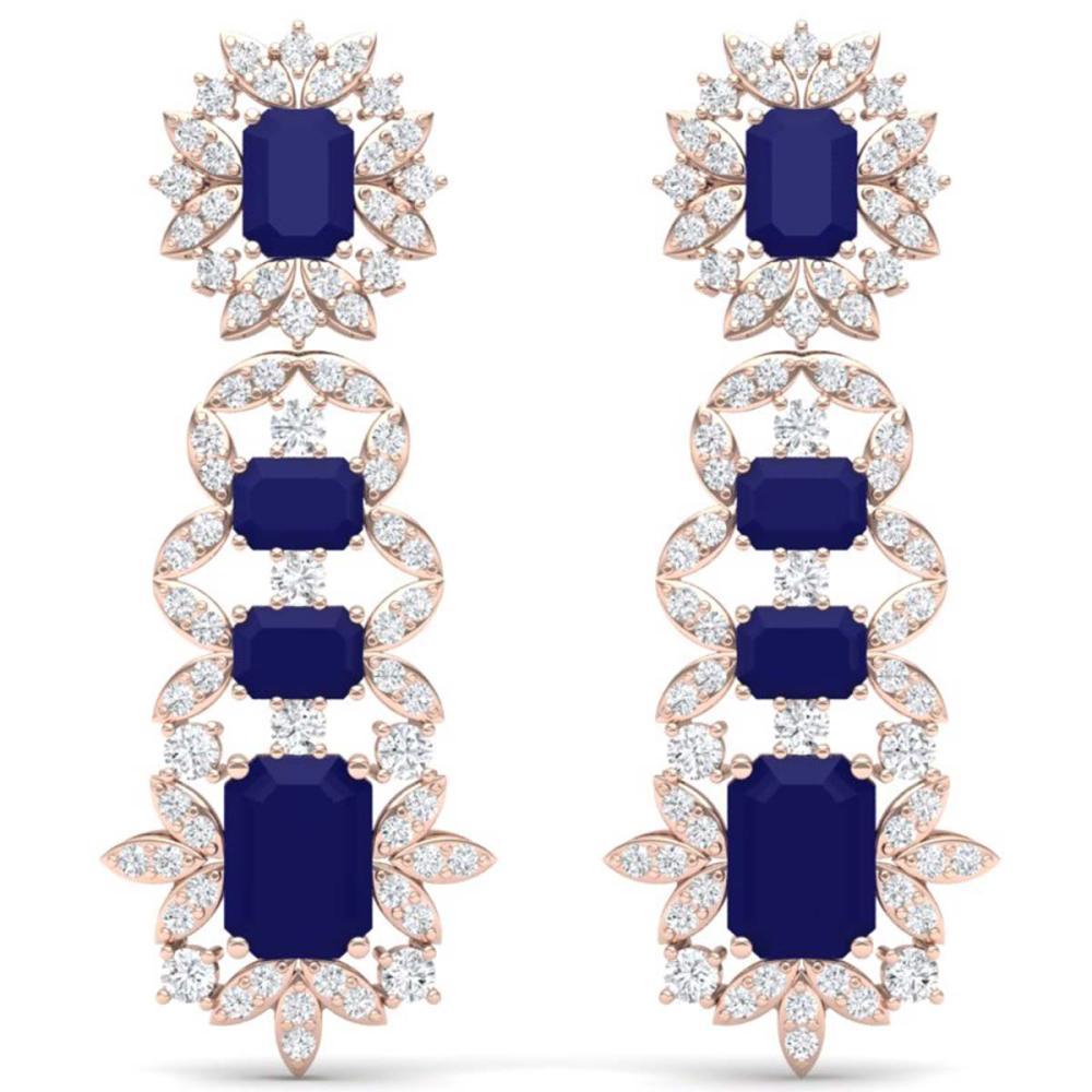 30.25 ctw Sapphire & VS Diamond Earrings 18K Rose Gold - REF-581V8Y - SKU:39412