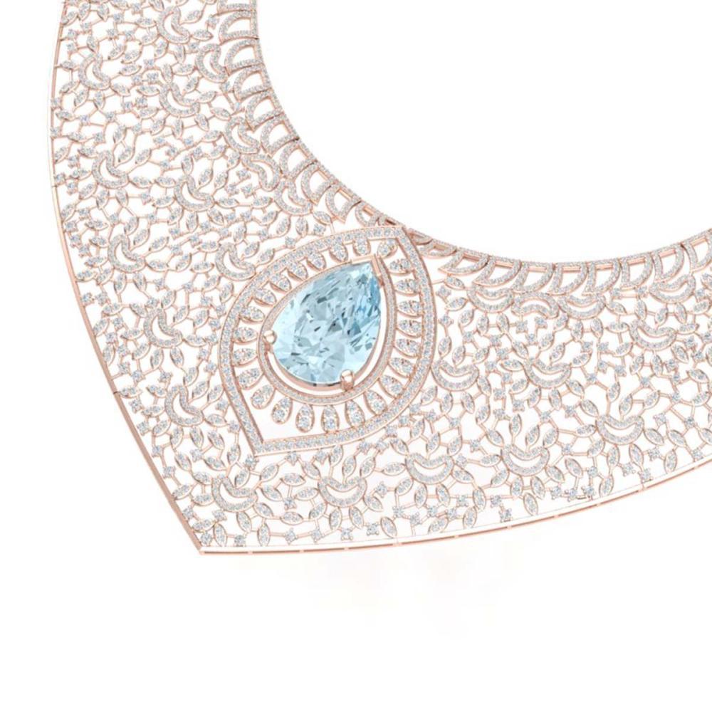 63.27 ctw Sky Topaz & VS Diamond Necklace 18K Rose Gold - REF-2454A5V - SKU:39580