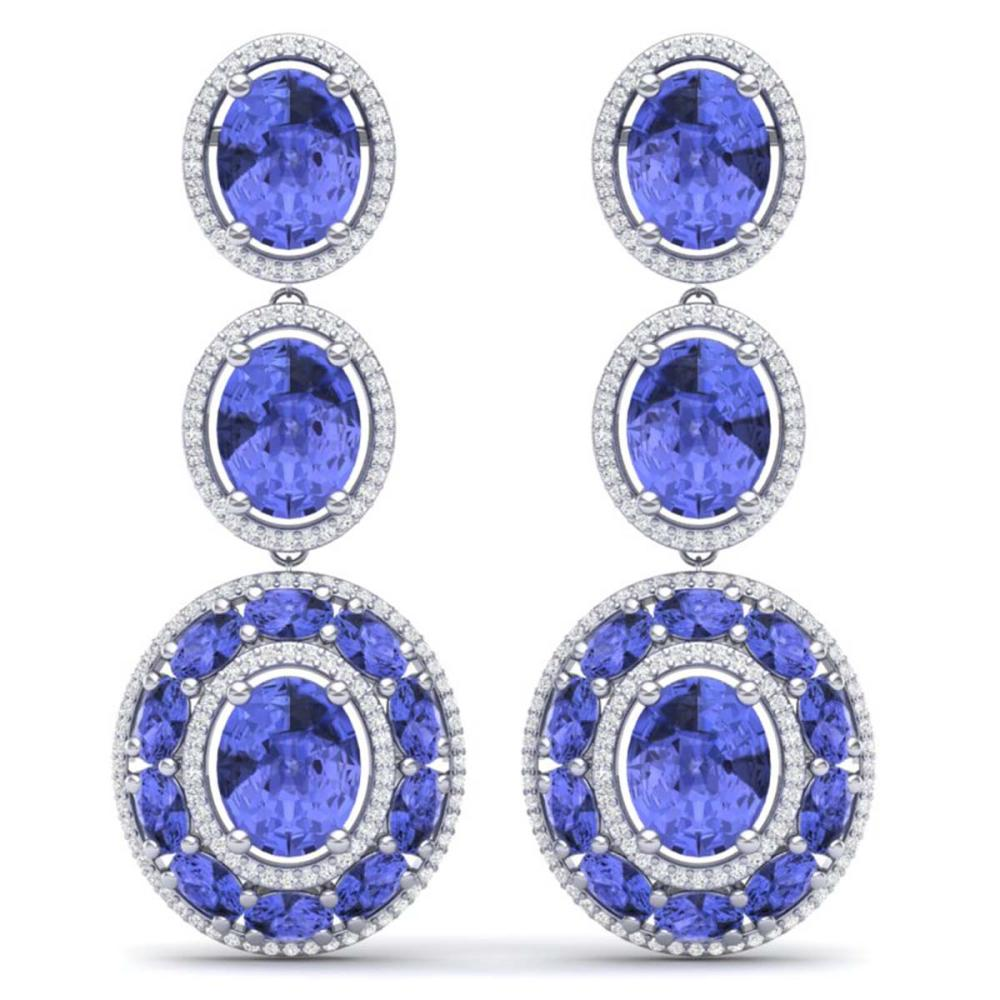33.72 ctw Tanzanite & VS Diamond Earrings 18K White Gold - REF-581K8W - SKU:39264