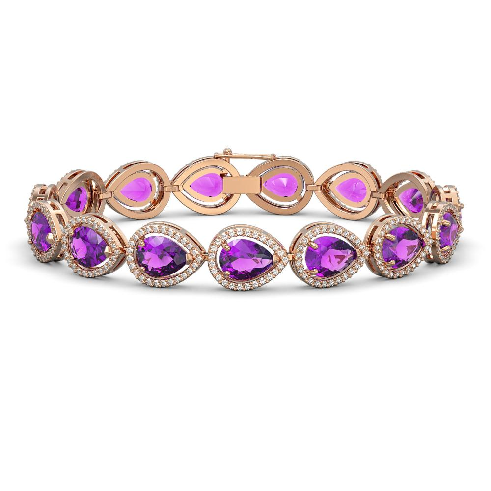 20.3 ctw Amethyst & Diamond Halo Bracelet 10K Rose Gold - REF-282M9F - SKU:41274