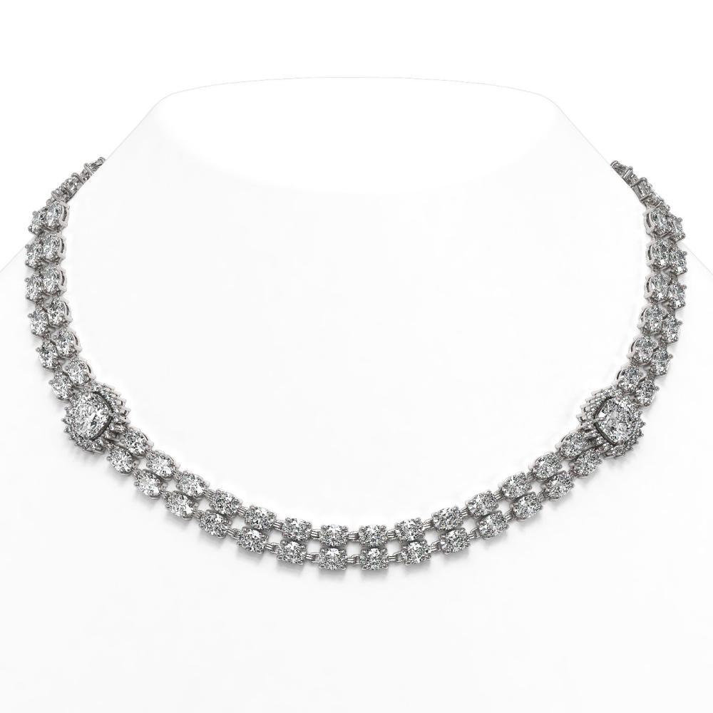 30.82 ctw Cushion & Oval Diamond Necklace 18K White Gold - REF-3942K5W - SKU:46203