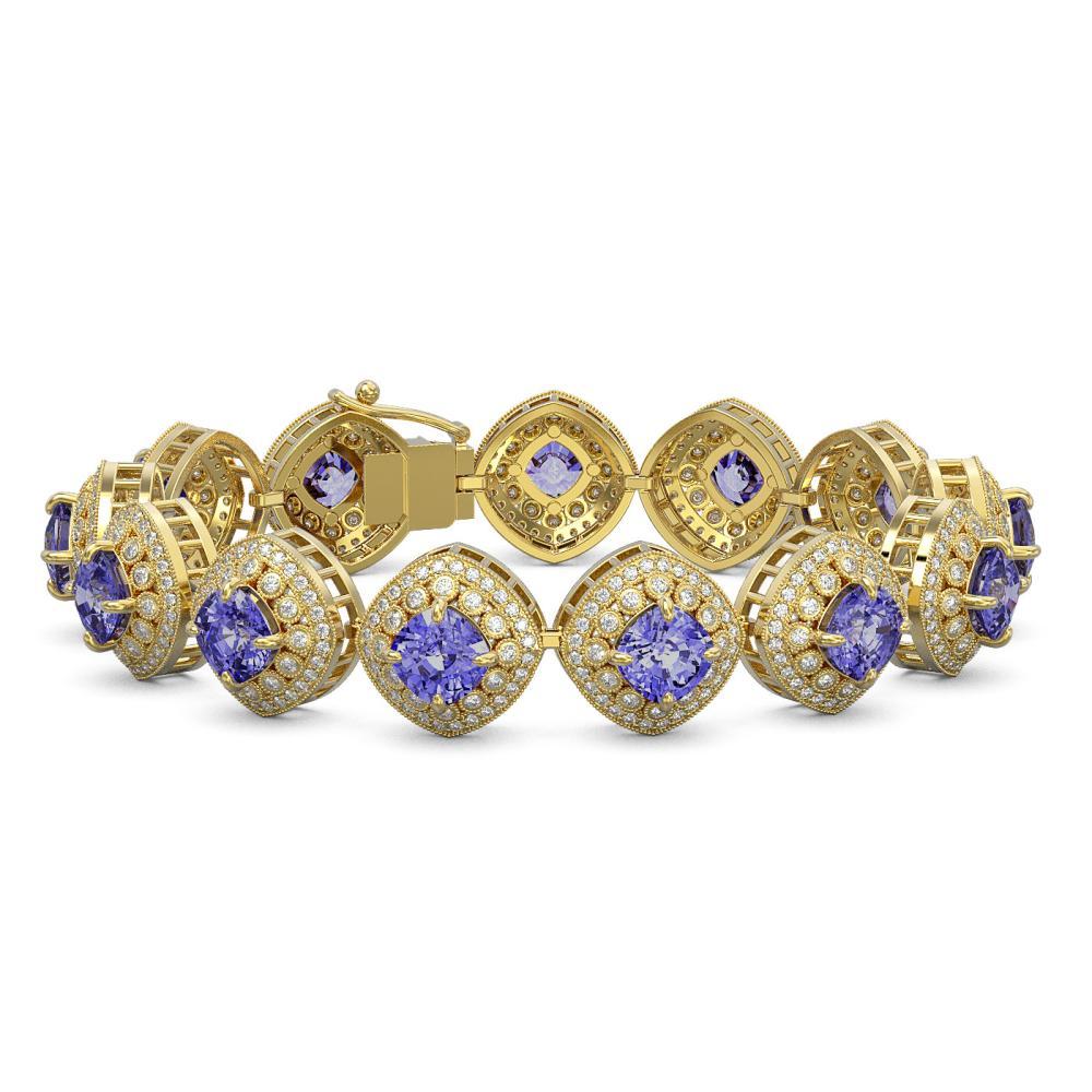38.1 ctw Tanzanite & Diamond Bracelet 14K Yellow Gold - REF-1136N7A - SKU:44155