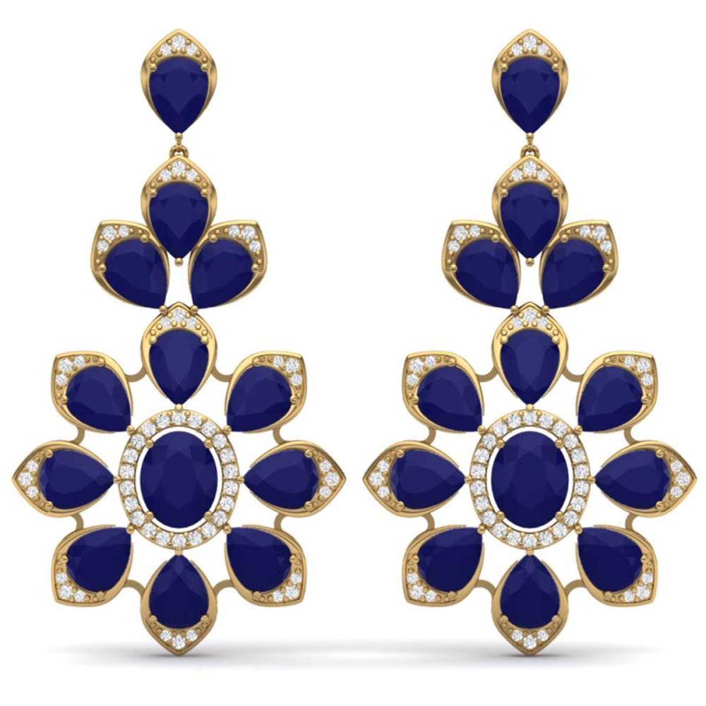 51.8 ctw Sapphire & VS Diamond Earrings 18K Yellow Gold - REF-509W3H - SKU:39053