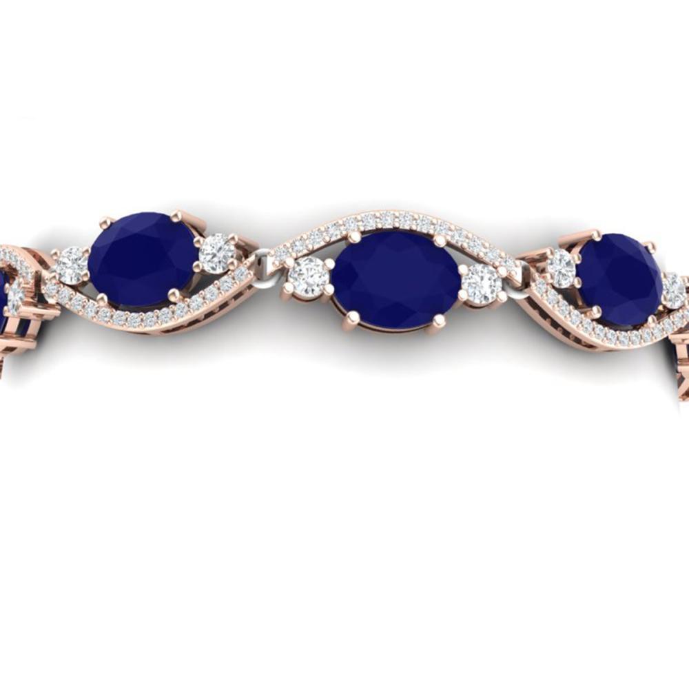 22.15 ctw Sapphire & VS Diamond Bracelet 18K Rose Gold - REF-400X2R - SKU:38965