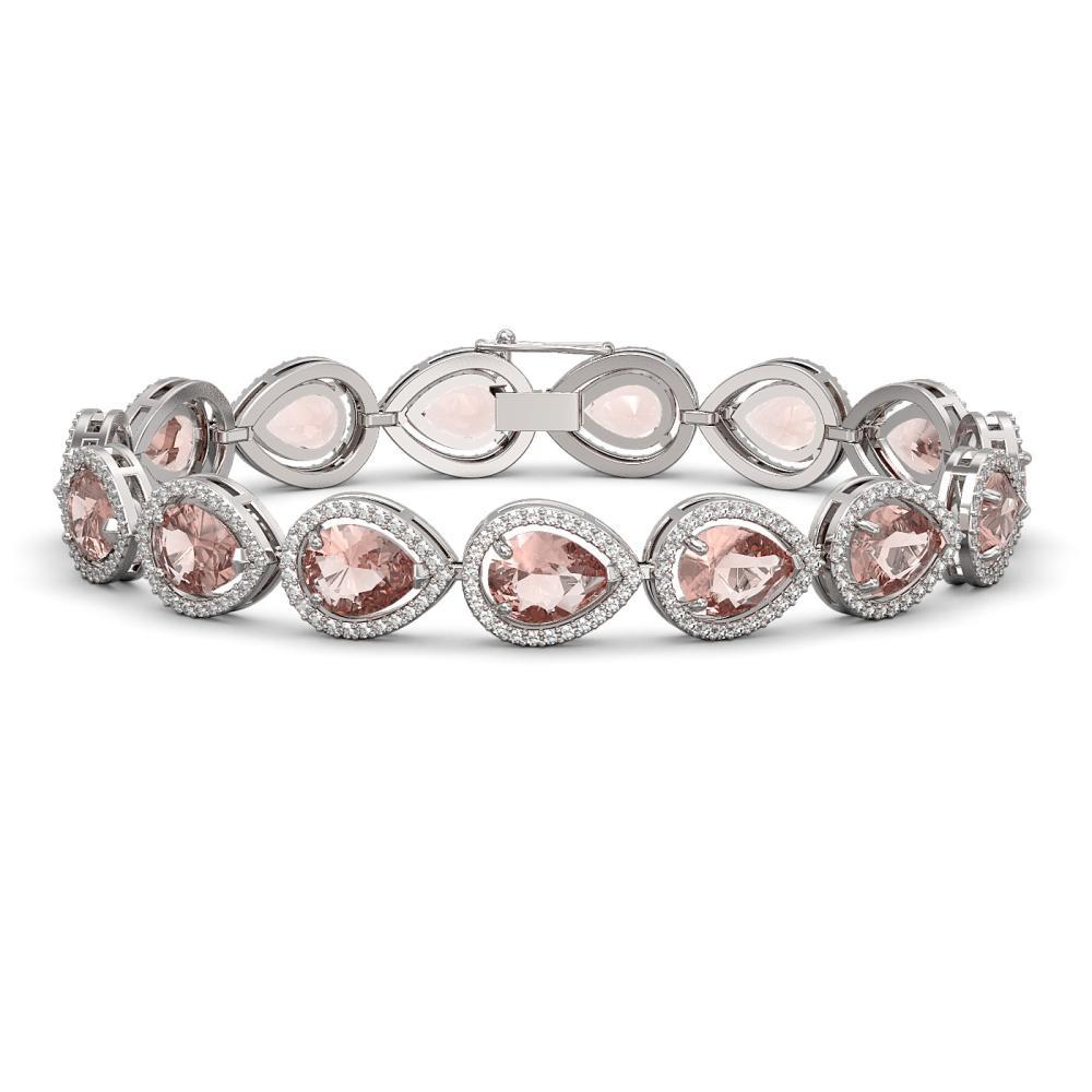 19.55 ctw Morganite & Diamond Halo Bracelet 10K White Gold - REF-480F4N - SKU:41246