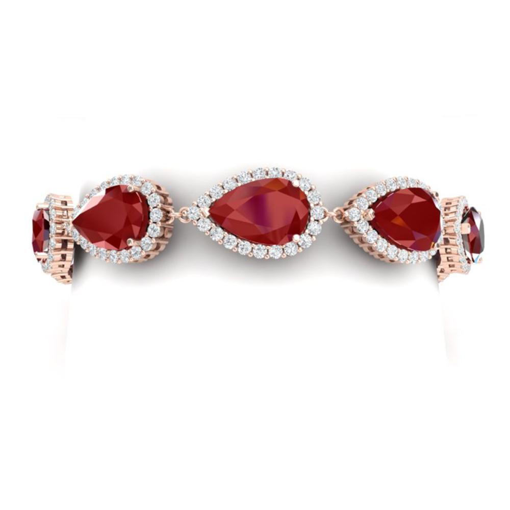 42 ctw Ruby & VS Diamond Bracelet 18K Rose Gold - REF-600M2F - SKU:38860