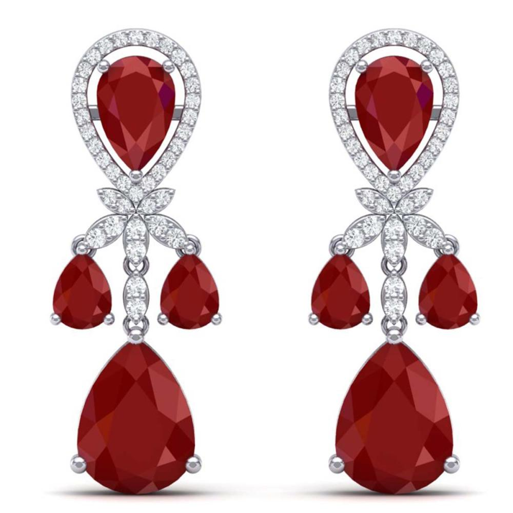 38.29 ctw Ruby & VS Diamond Earrings 18K White Gold - REF-454X5R - SKU:38607
