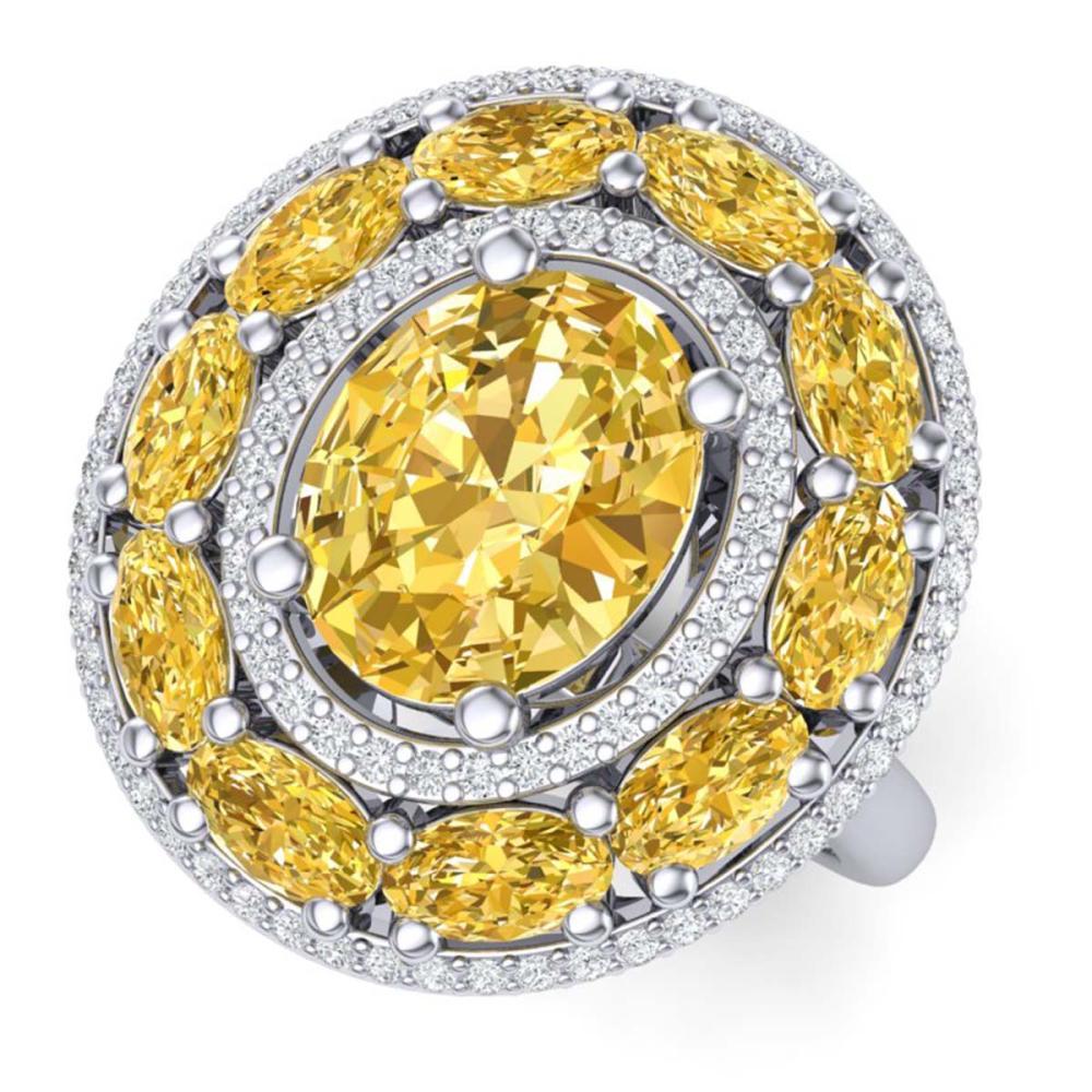 7.21 ctw Canary Citrine & VS Diamond Ring 18K White Gold - REF-163Y6X - SKU:39252
