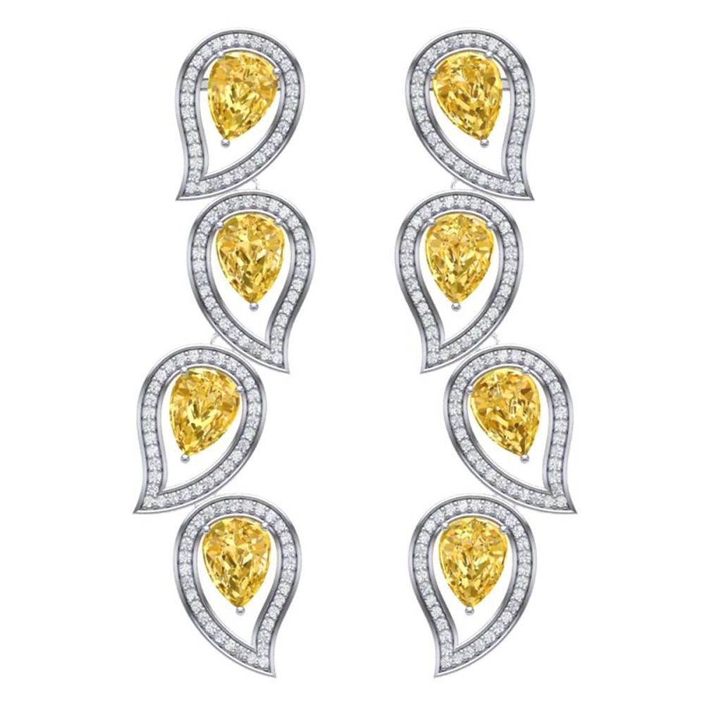 14.63 ctw Canary Citrine & VS Diamond Earrings 18K White Gold - REF-281Y8X - SKU:39462