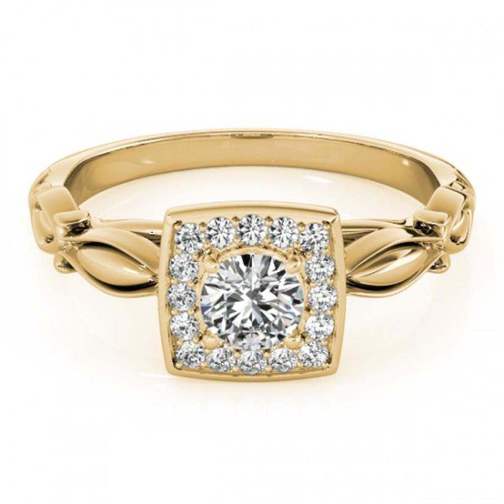 0.55 ctw VS/SI Diamond Halo Ring 18K Yellow Gold - REF-66A2V - SKU:26256