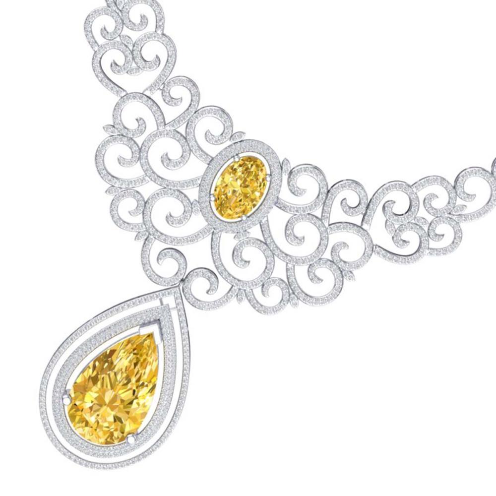 73.43 ctw Canary Citrine & VS Diamond Necklace 18K White Gold - REF-1527K3W - SKU:39848
