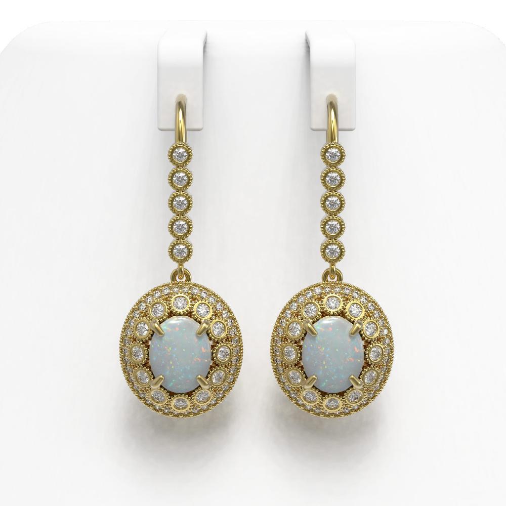 7.81 ctw Opal & Diamond Earrings 14K Yellow Gold - REF-256K7W - SKU:43621
