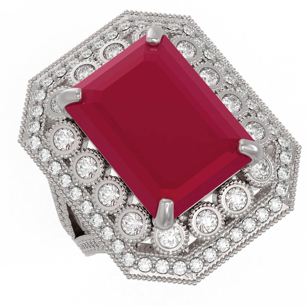16.44 ctw Ruby & Diamond Ring 14K White Gold - REF-309N3A - SKU:43547