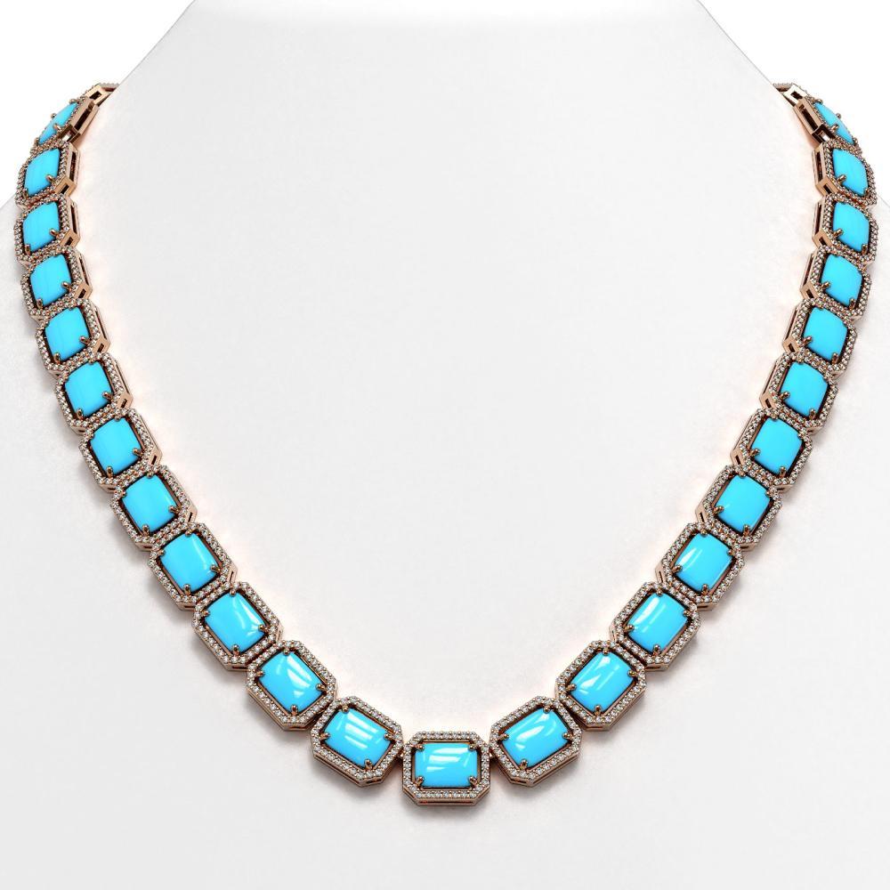 68.59 ctw Turquoise & Diamond Halo Necklace 10K Rose Gold - REF-698M2F - SKU:46075