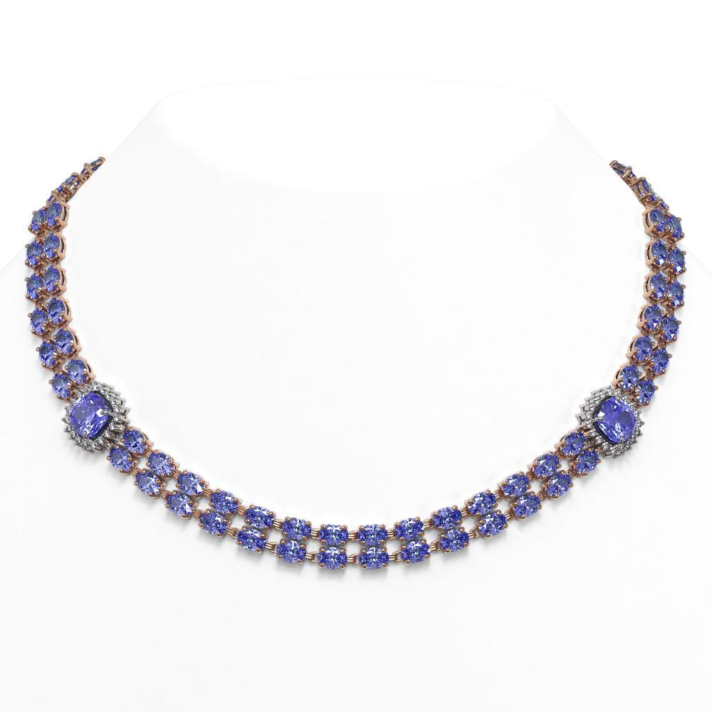 69.4 ctw Tanzanite & Diamond Necklace 14K Rose Gold - REF-955N3A - SKU:44805