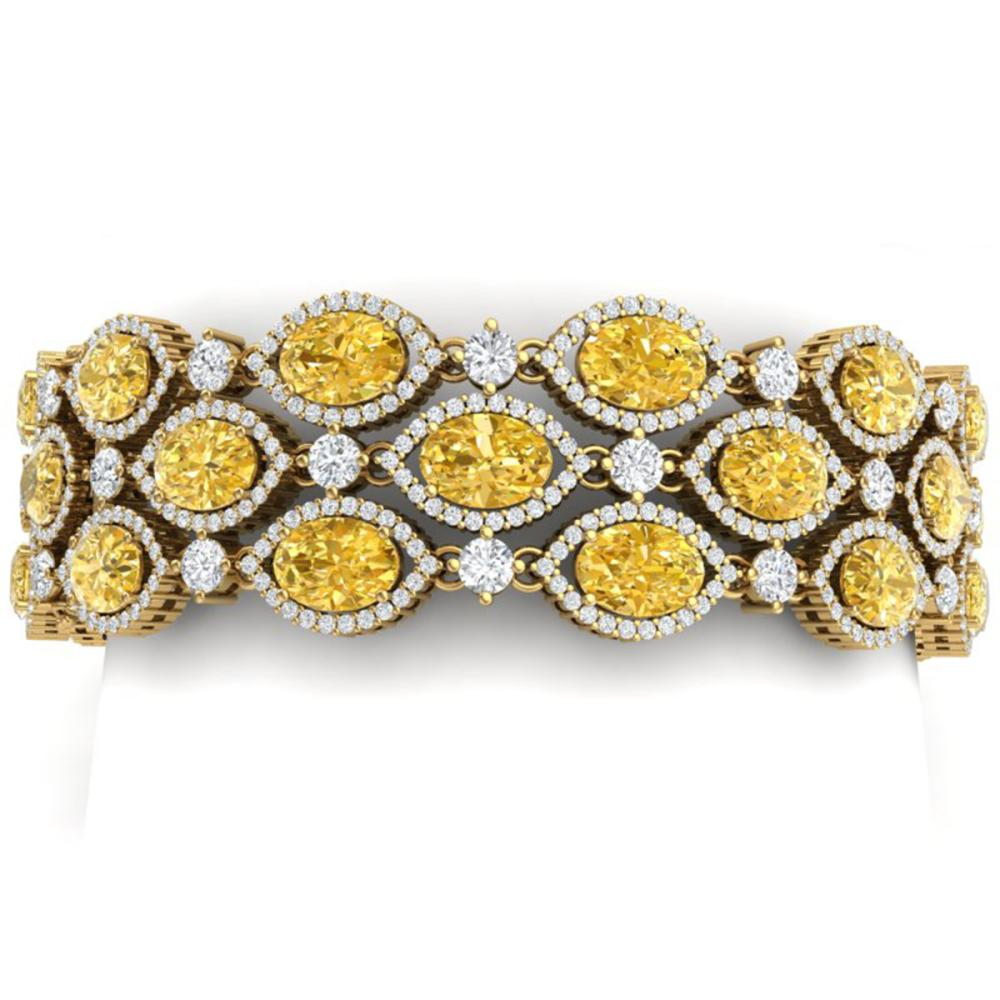 43.84 ctw Canary Citrine & VS Diamond Bracelet 18K Yellow Gold - REF-1018Y2X - SKU:38903